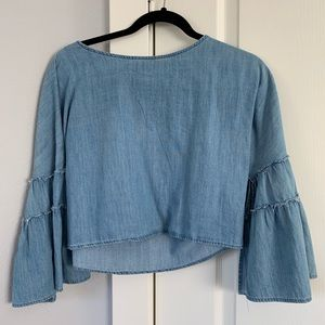Zara cropped thin denim shirt